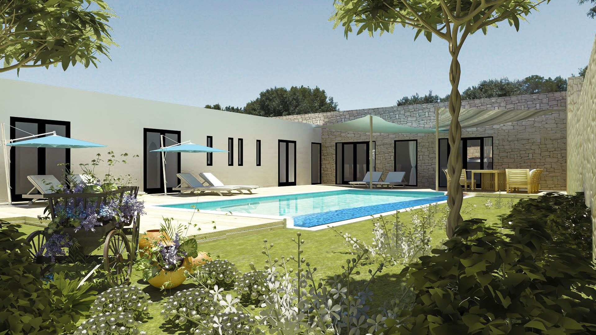 20-01-03-VV Villa to build 200 m² Garden 1129 m² Optional Lake 80 m² and 3 wooden bungalows